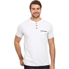 Hurley Dri-Fit S/S Knit Henley (White) Men's Short Sleeve Knit (88 BRL) ❤ liked on Polyvore featuring men's fashion, men's clothing, men's shirts, men's casual shirts, white, mens white casual shirt, mens classic fit shirts, mens short sleeve henley shirt and mens white short sleeve shirt