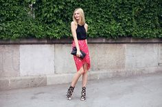 Incredible hi lo red lace skirt and amazing heels