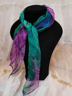 Blur silk scarf hand painted, each piece is unique and particular. Size: 70cm x70cm