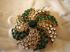 Vintage Weiss Faux Emerald & Diamond Rhinestone by justayayadesign, $30.00