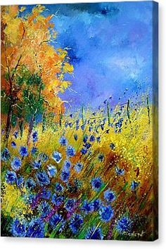 Orange Tree And Blue Cornflowers Canvas Print by Pol Ledent
