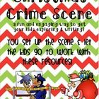 A Christmas Crime Scene - get your kids writing after you set up a scene and provide these resources! (Scientific Method, 5 senses, write a letter to Santa)