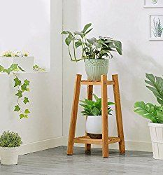Cdbl Shelf Storage Rack Wooden Plant Flower Display Stand Wood Pot Shelf Rack Outdoor Indoor Landing 2 Layer Pots Holder Solid Wood Stand Plant Shelf Size 60 Tall Plant Stand