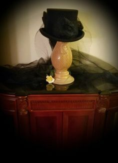 Victorian Trading Co Victorian Hat With Veil Long Tulle Bow Steampunk Halloween Steampunk Halloween, Halloween Queen, Halloween Items, Steampunk Costume, Halloween Decorations, Victorian Hats, Victorian Fashion, Black Lace Gloves, Supreme Hat
