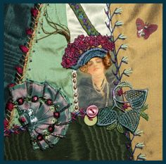 I ❤ crazy quilting & ribbon embroidery . . . Victorian Ladies Round Robin- This is my work on Rengin's block. ~By Connie