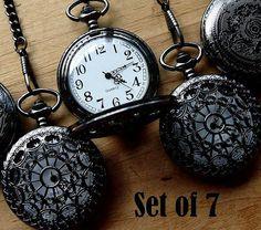 Set of 7 Pocket Watches with Chains Onyx by PocketwatchPurveyor #pocketwatch #wedding #groomsmengift