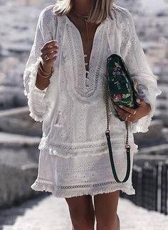 White Smock Dress Tassel Boho Girly Holiday Summer Plain Simply V Neck Short Shift Dress – bluejodi White Smock Dress, Look Boho, Mini Vestidos, Vacation Dresses, Long Sleeve Shirt Dress, Dress Long, Sleeved Dress, Dress Sleeves, Summer Dresses For Women