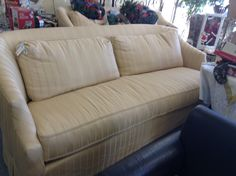 Henredon Custom Sofa's - We have two of these fabulous sofas. Custom built with down filled cushions. They are fabulously comfortable. The fabric is very good but at this price you can easily justify re upholstery ( we can help with that).  We have priced them to move them.  Item 500-105.  Price $ 500.00 each.     - http://takeitorleaveit.co/2016/02/01/henredon-custom-sofas/