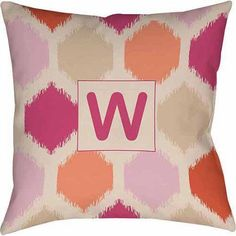 Thumbprintz Batik Monogram Decorative Pillow, Pink