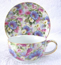 Morning Glory Chintz Cup Saucer Porcelain Gold Trim 1980s Teacup