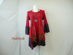 Patchwork Clothing | ... 28 plus size womans clothing red shirt top Hippie recycling patchwork