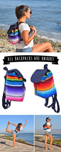 Handmade Mini Backpack From Mexican Serape Blanket. Use Promo Code: MINIBAJA and save 20% off your order!  Now Available On Amazon Prime!