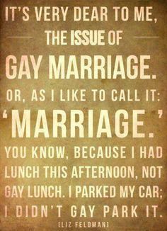 """""""It's very dear to me, the issue of gay marriage. Or as I like to call it: 'marriage'. You know, because I had lunch this afternoon, not gay lunch. I parked my car; I didn't gay park it.""""  - Liz Feldman"""
