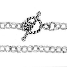 """Sterling Silver 3.8mm Rolo Chain with Twist Toggle and Bar 7 1/2"""""""