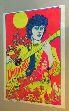 Vintage Black Light Poster Donovan Psychedelic Pin-Up silkscreen #60s
