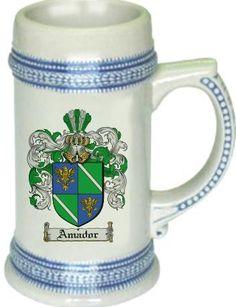 Amador Coat of Arms / Family Crest tankard stein mug