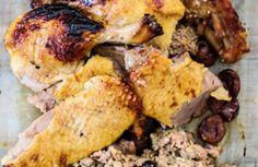 Canette farcie au foie gras et aux marrons