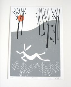 Winter Woodland LInocut,Lino Print - Limited Edition of 20 only - White Hare ,English  Landscape,  Lino Block,Signed Giuliana Lazzerini by TheBluebirdGallery on Etsy https://www.etsy.com/listing/81778446/winter-woodland-linocutlino-print
