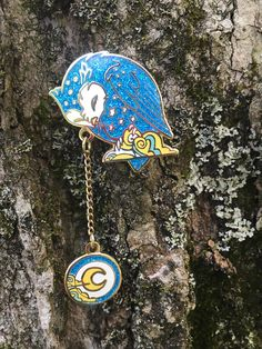 """Perched+on+his+cloud,  The+Great+Owl  Lowered+the+Moon  Into+the+Chilly+Night    2.5""""+Owl+and+moon+with+chain.  Glitter+hard+enamel."""