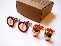 Iron man and Flash 2 pairs of Cuff Links  - stainless steel
