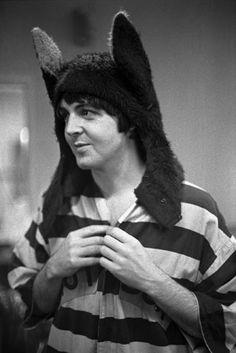 Paul McCartney models fox ears at London's Mercury theatre dance studio on July 28, 1968.
