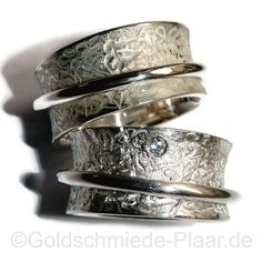 Rollringe aus Silber mit Brillant, auch als besondere Trauringe zu tragen - silver weddingrings with diamond