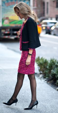 c2+kate+spade+tweed+skirt+suit+bright+colors+pink+orange+red+blue+black+purple+blue+asos+long+poppy+coat+charles+david+pointed+pumps+stacking+rings+gold+office+corporate+style+fashion+blog.jpg 640×1,235 pixels