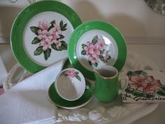 Sissie's Shabby Cottage: Pink Saturday, Pink dishes, Grandmom and The Greenbrier Resort. Burlap Monogram, Pink Dishes, Restaurant, Shabby Cottage, China Patterns, Vintage Antiques, Decorative Plates, Table Settings, Tableware