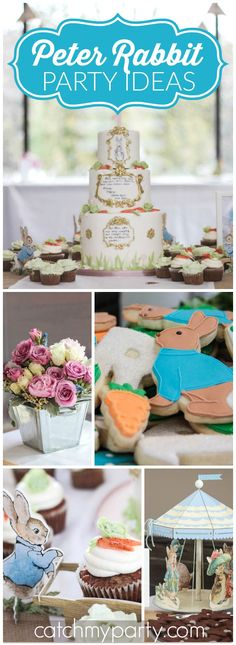 Such a beautiful Peter Rabbit party for a first birthday! See more party ideas at CatchMyParty.com!