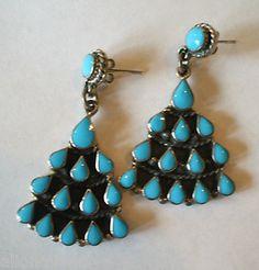 Vintage Taxco Bernice Goodspeed Sterling Silver Turquoise Chandelier Earrings | eBay