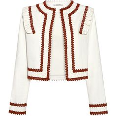 Ganni - Idaho Embroidery Ruffle Trim Jacket (£240) ❤ liked on Polyvore featuring outerwear, jackets, white cropped jacket, embroidery jackets, ganni, embroidered jacket and cropped jacket