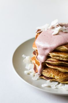 roasted strawberry + coconut cream pancakes | edibleperspective.com #glutenfree