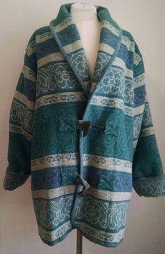 Vtg Eddie Bauer Indian Blanket Coat M Green Blue Wool Aztec Tribal Wood Toggle #EddieBauer #BasicCoat