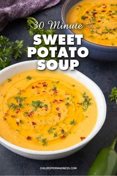 Recipes Snacks Sweet Healthy Sweet Potato Soup recipe that's ready in It's dairy-free and made with only 5 ingredients! Puree Soup Recipes, Pureed Food Recipes, Healthy Soup Recipes, Healthy Foods, Sweet Potato Soup Healthy, Slimming World Soup Recipes, Spicy Chicken Recipes, Pork Stew, Slow Cooker Soup