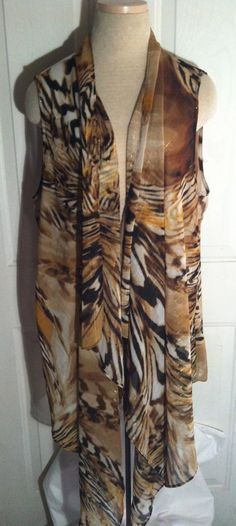 ad9509b531d51 CHICO S Ladies Sleeveless Long Vest Tiger   Marble Print Light Sheer Size 2  (L) in Clothing