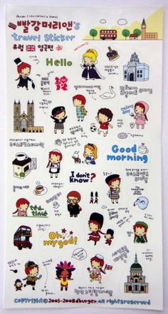 Cute Little Red Haired Girl Plastic Travel Stickers From Korea - London Theme - Queen, Cathedral, Football, Cafe, Harry Potter, Bus, Theatre