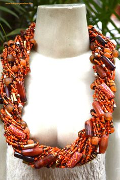 Orange  African Handmade Masai beaded necklace, chunky statement necklace,
