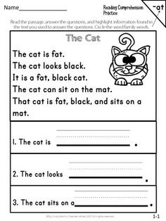 Reading Comprehension Passages and Questions FREEBIE Reading Comprehension For Kids, Phonics Reading, Reading Passages, Kindergarten Reading, Reading Tutoring, Comprehension Strategies, Reading Response, English Stories For Kids, English Worksheets For Kids