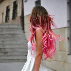 Brown Dip Dyed Hair | dip dye, dress, scene, brown hair, ombre, ombre hair, indie, pink hair ...