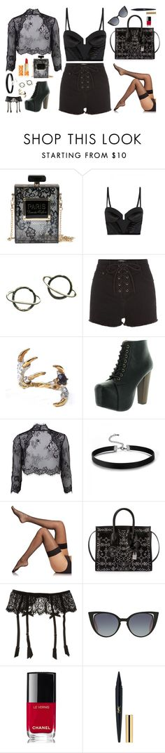 """""""Something Wicked"""" by resilient-tophat ❤ liked on Polyvore featuring sass & bide, Stefanie Sheehan Jewelry, Tessa Metcalfe, Speed Limit 98, Gina Bacconi, Fogal, Yves Saint Laurent, L'Agent By Agent Provocateur, Fendi and Chanel"""