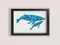 Whale Cross Stitch Pattern / Printable PDF / Whales Cross