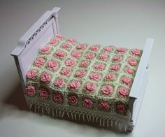 Crochet rose bedspread for dollhouse.                              …