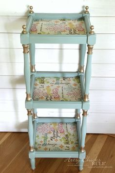 Thrifty Makeover with French Fabric Decoupage - Artsy Chicks Rule® Decoupage Furniture, Diy Furniture Projects, Funky Furniture, Refurbished Furniture, Paint Furniture, Repurposed Furniture, Furniture Makeover, Handmade Furniture, Vintage Furniture