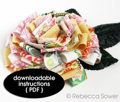 Fabric Scrap FlowerPDF Tutorial by rebeccasower on Etsy