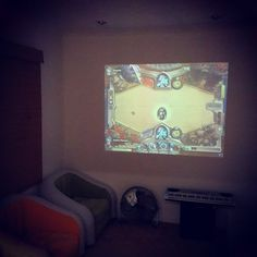 Hearthstone tournament up on our big screen in the Holodeck