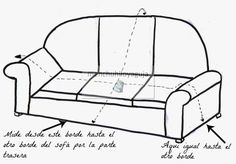 PATRONES DE COSTURA : CÓMO MEDIR UN SOFÁ PARA CONFECCIONAR UNA FUNDA Reupholster Furniture, Furniture Upholstery, Furniture Covers, Chair Covers, Sewing Hacks, Sewing Projects, Sewing Courses, Diy Cushion, Diy Sofa