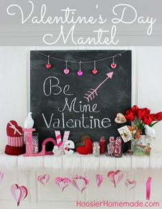Valentine's Day Mantel on HoosierHomemade.com