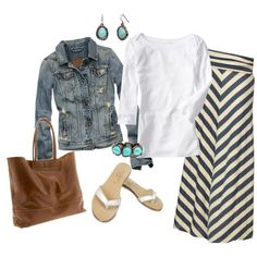 Absolutely love this outfit! Long maxi skirt, jean jacket with turquoise