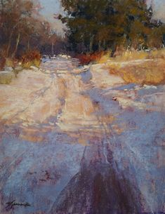 "Roadway Shadows by Barbara Jaenicke Pastel ~ 14"" x 11"""