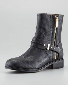 Cruz Python-Embossed Short Moto Boot by Rachel Roy at Neiman Marcus. LOVE! Fall Must Haves, Designer Boots, Python, Curvy Fashion, Womens Fashion, Fashion Fall, Rachel Roy, Stylist Pick, Moto Boots